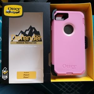 Pink Otterbox defender for iphone 7/8